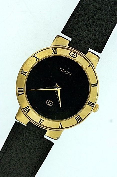 gucci 3300m mens unisex gold plated swiss made wrist watch c