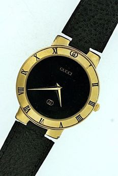 Gucci 3300M - mens/unisex gold plated, Swiss made wrist watch c.1990s