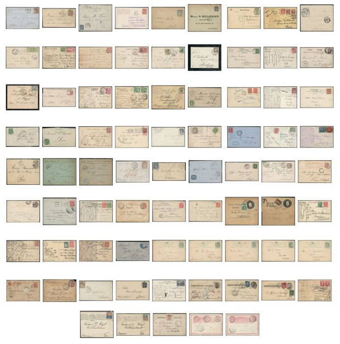 world 1862/1930 - lot of 77 taxed letters, destinations, franking