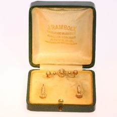 Victorian matching set of pearl gold earrings and brooch - anno 1880