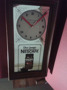 Large, wooden / mirror NESCAFE clock. Vintage 1980. Advertising NESCAFE. Handmade B.Fawcett&Co. Leeds&London. Made in England.+gratis Advertising expresso 3D.