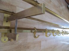 Large brass Art Deco style coat rack with six hooks, Belgium, 1930s