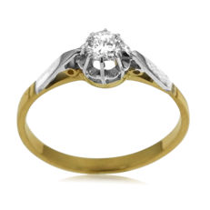 Old Miners-cut 0.28ct Diamond Solitair in Bi-color Gold.