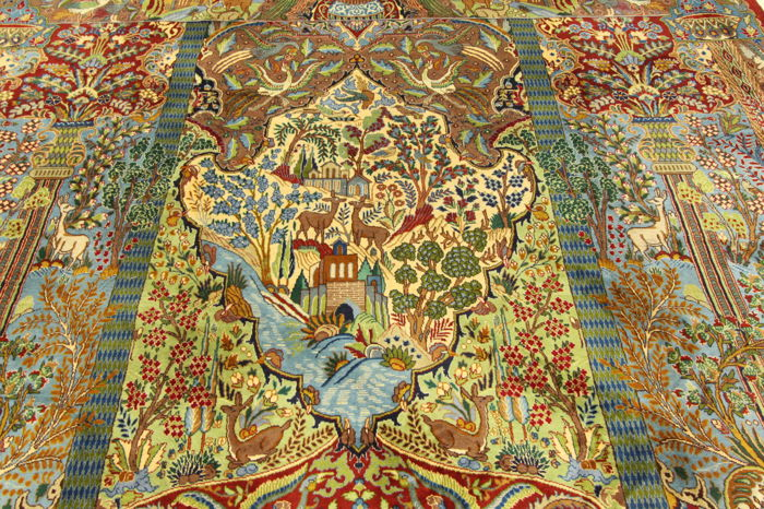 Rare Persian carpet with illustrations, Kashmar, Garden of Eden, 3.80 x 3.10 m, paradise oriental carpet, TOP CONDITION