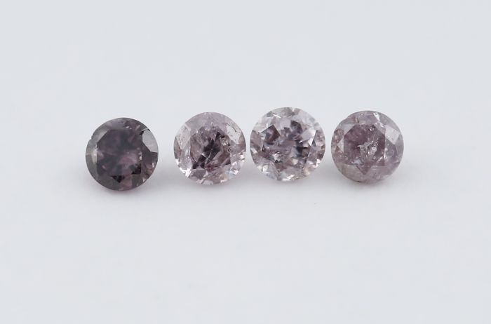 Set of 4 Diamonds 0.04 + 0.04 + 0.04 + 0.03 = 0.15 ct. - Round Brilliant - Pink Brown - I 2 , I 1
