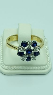 18K Diamond Ring with Sapphires