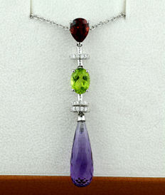 Gemstone brilliant pendant 7.75ct in total 750 white gold *NO RESERVE PRICE*