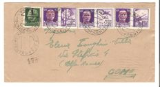 "Italy, 1944 – RSI, three ""Propaganda"" stamps with RSI overprint, cancelled on envelope from Vicenza to Como"