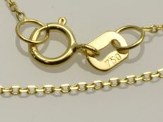 18k Gold Necklace. Anchor Chain - 44.5 cm.