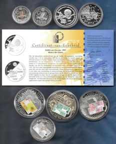 Europe - EURO fantasy coins 1996 / 2001 - 8 coins with silver