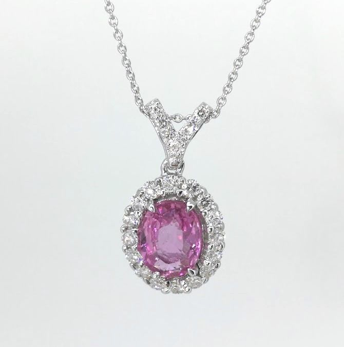 Pendant with  Exclusieve Sri Lanka  pink sapphire  1.10 ct & 23 brilliant-cut diamonds