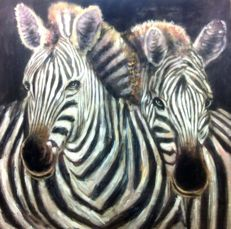 "Africa Ethnographic realist School  "" A couple of zebras ""  oil on canvas  100 x 100 cm"