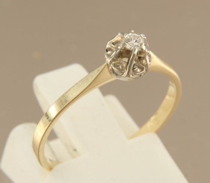 14 kt Bicolour gold solitaire ring with brilliant cut diamond, 0.06 ct in total - 54(EU) - No reserve price