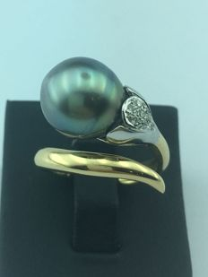 Diamond ring with black Tahiitian pearl 11 mm -  size 16.5 mm