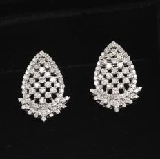 IGI Certified 14 kt/585 White Gold Diamond Earrings - Diamonds 2.33 ct.