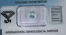 Paraiba Tourmaline - 1.28 ct - Neon Green