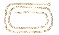 14 kt yellow gold Figaro link necklace – Length 45.7 cm