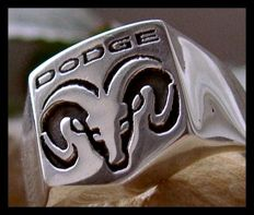 Unique Dodge Ring Sterling Silver 925 Handmade