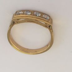 Gold 22 kt riviera ring with 4 diamonds, brilliant cut, size 17 (53)
