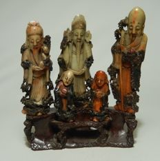 A large soapstone group with the gods of the three stars – China – 19th century
