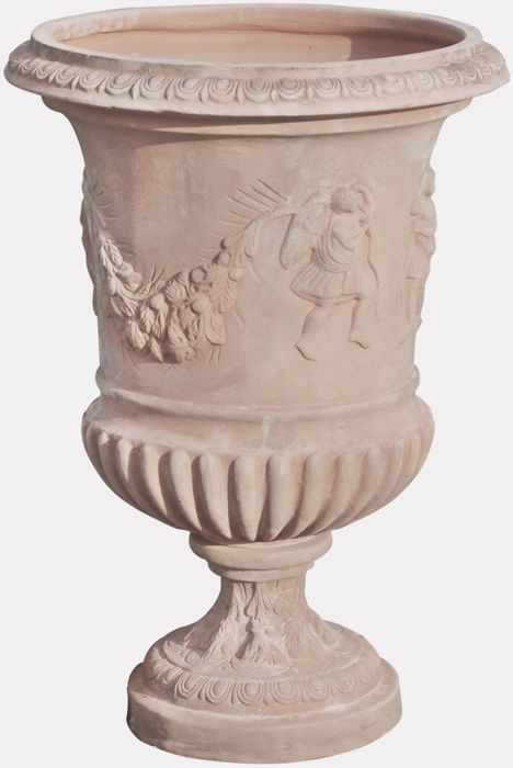 Fluted baluster vase and aged, in Tuscan terracotta diam. 60 x 76 cm