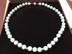 Turquoise necklace with golden elements