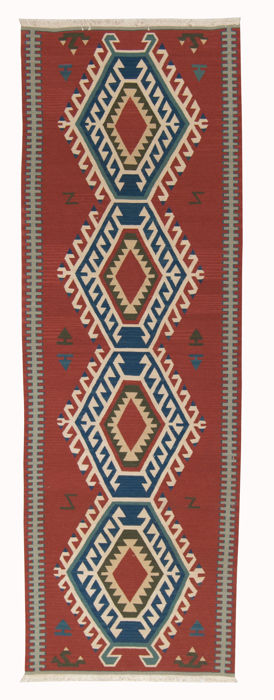 Dimensions: 244 x 76 cm, Antique Indian manufacture, Authentic Kilim – India – circa 1940-1950