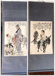 A pair of nice painting Man and Donkey made after Liu Xingquan - China - late 20th century