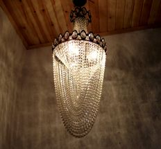 Empire French Brass Crystal Chandelier, 1970s