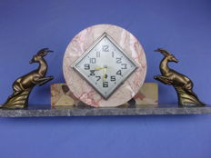 Clock set, Art Deco, in marble with two Zamak gold plated deer – period 1930