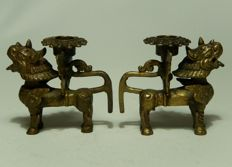 Two bronze temple lions – Nepal – 1st half 20th century