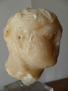 large stone alabaster head from the Roman period, height 120 mm