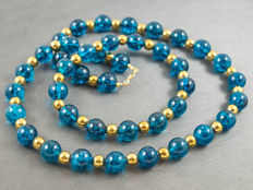 Demi-parure: kyanite quartz necklace and bracelet with hematite, bracelet from 20 cm, necklace length 47 cm, 14 kt gold clasp