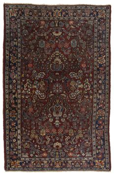 (Size 207 x 134 cm) ANTIQUE authentic and original Persian rug (HAND-KNOTTED) – AMERICAN SAROUK, PERSIA (IRAN) – Circa 1890-1920 – With certificate of authenticity from official appraiser – (Galleriafarah1970)