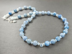 Blue lace agate necklace with aquamarine and Sky blue topaz, 43-46 cm length, 14 kt white gold clasp