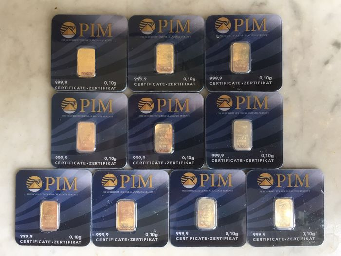 10 pcs. new Gold bars, 999.9/1000 pure gold, LBMA certified