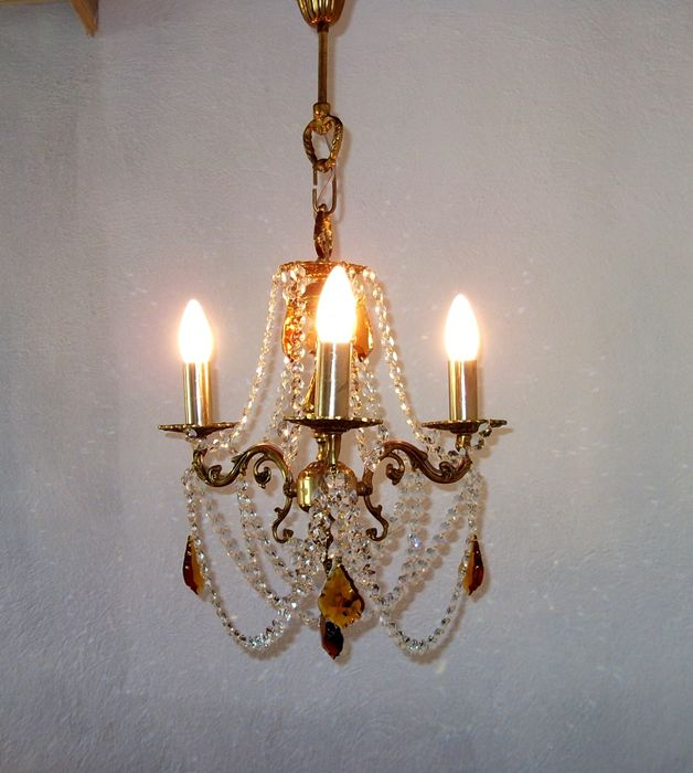 Gold Brass Rococo 3 Arms Crystal Chandelier, refurbished