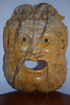 """Satyr"", marble theatre mask - Italy - late 19th century"