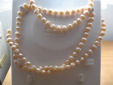 Cultured fresh water pearl necklace, approx 8-9 mm, soft pink colour