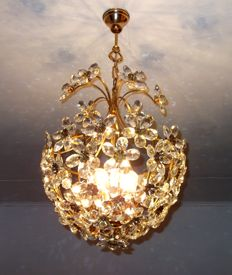 Brass Basket Crystal Chandelier, recently refurbished