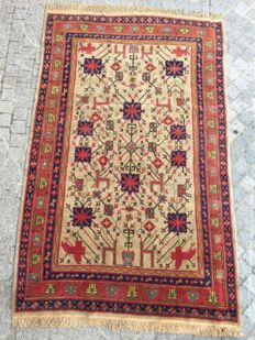 Lovely antique Oriental rug Sinkiang handmade 155x244 cm