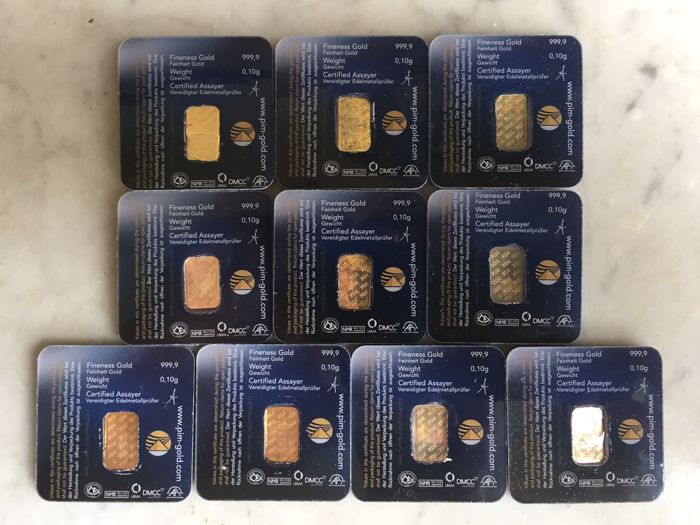 10 pcs. Gold bars, 999.9/1000 pure gold, 24 Carat, LBMA certified