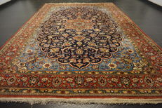 Semi-antique hand-knotted Persian carpet, Qum, wool with silk, 230 x 330 cm, made in Iran