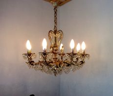 Brass Vintage Angel Rococo 8 Lights Crystal Chandelier, 20th century