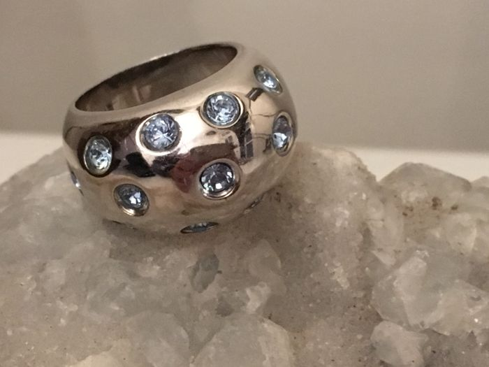 973b8b84faca 925 Silver ring with sky blue Swarovski crystals – Yves Saint Laurent –  France – 1980s – ring size 17 mm