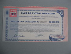 Spain Catalonia FC Barcelona - Titulo de una obligacion de 500 pesetas - Construction of Camp Nou.
