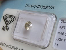 0.60 ct Brilliant Cut Diamond Light grey yellow I1