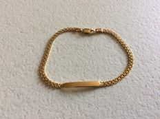 Bracelet  in 18 kt gold with plate for engraving - 21 cm