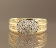 18 kt bicolour gold ring set with 24 brilliant cut diamonds, approx. 0.36 ct in total, ring size 17 (53)
