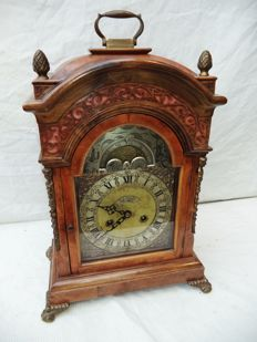 Unique, large, burr walnut, English table clock with moonphase - John Taylor London - around 1920